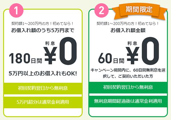 レイクALSA 選べる2つの無利息 期間限定キャンペーン