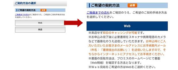 プロミス 契約方法 Web契約